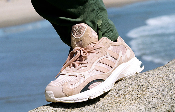 SNS Exclusive adidas Temper Run Pale Nude EE6595 on foot 02
