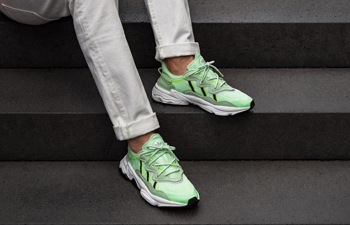 adidas Ozweego Glow Green EE6466 on foot 02