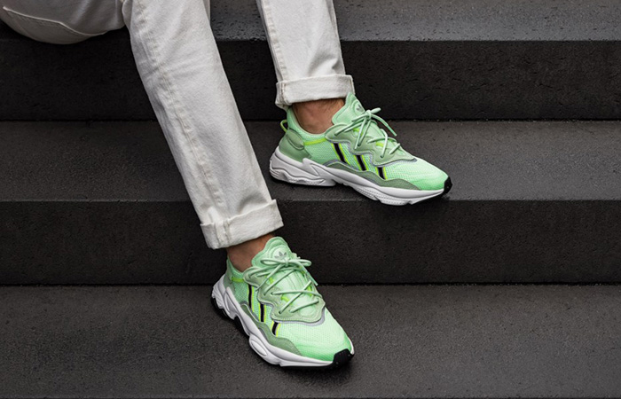 adidas Ozweego Glow Green EE6466 on foot 02