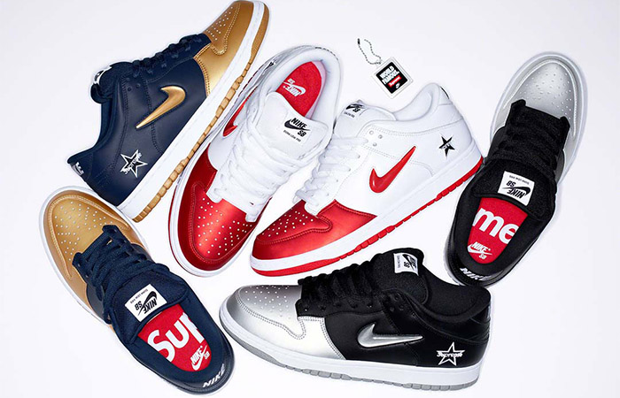 Finally Supreme UnveilsAll Three Pieces Of Nike SB Dunk Low Collaboration ft