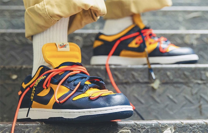 Off-White Nike Dunk Low Yellow Toe CT0856-700 on foot 01