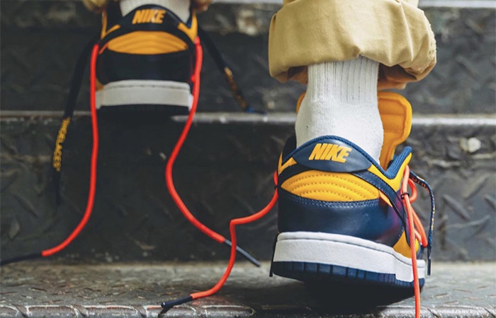 Off-White Nike Dunk Low Yellow Toe CT0856-700 on foot 03