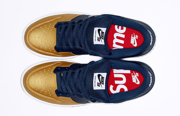 Supreme Nike SB Dunk Low Navy Metallic Gold CK3480-700 03