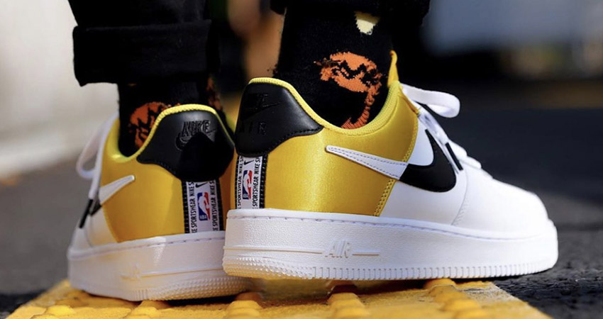 Here Is The On Foot Look At Upcoming Nike Air Force 1 07 LV8 NBA White Yellow 01