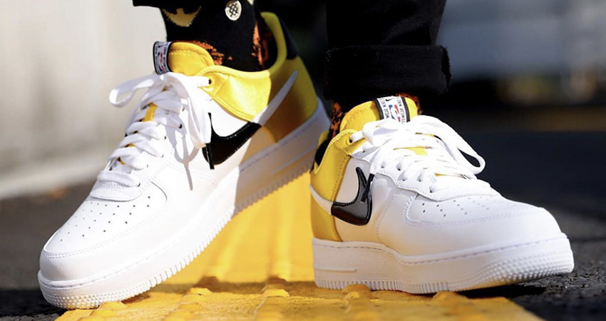Here Is The On Foot Look At Upcoming Nike Air Force 1 07 LV8 NBA White Yellow