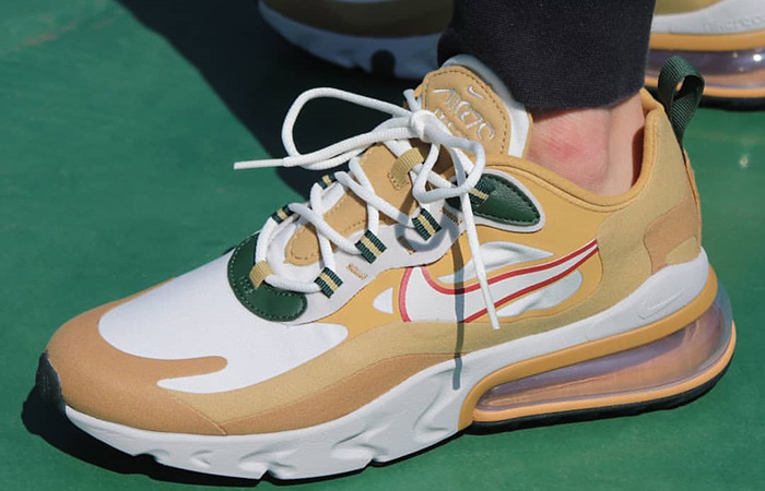 Nike Air Max 270 React Gold White AO4971-700 on foot 01