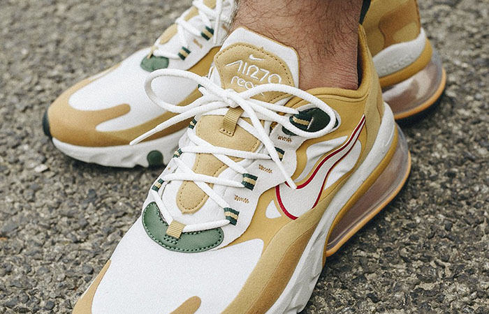 Nike Air Max 270 React Gold White AO4971-700 on foot 02