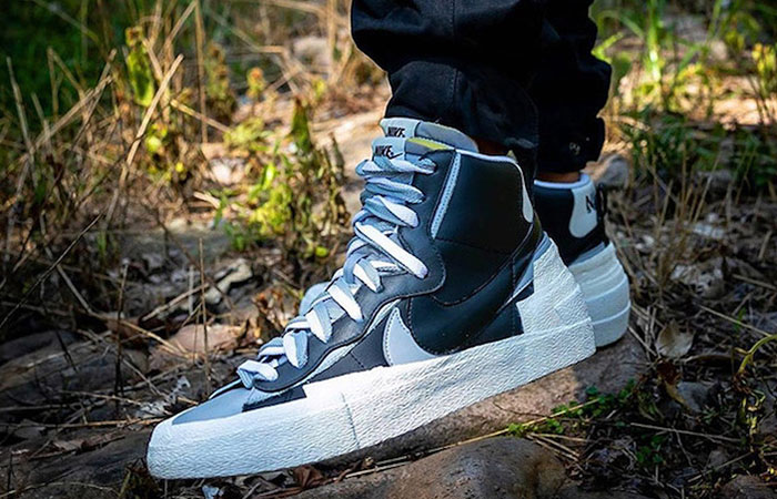 Sacai Nike Blazer Mid Black Grey BV0072-002 on foot 01