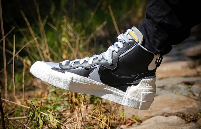 Sacai Nike Blazer Mid Black Grey BV0072-002 on foot 02
