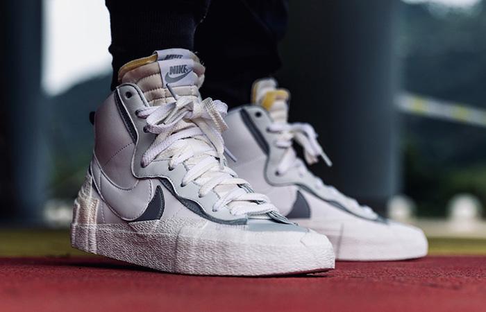 Sacai Nike Blazer Mid White Grey BV0072-100 on foot 01