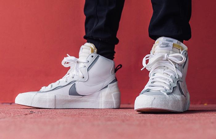 Sacai Nike Blazer Mid White Grey BV0072-100 on foot 02