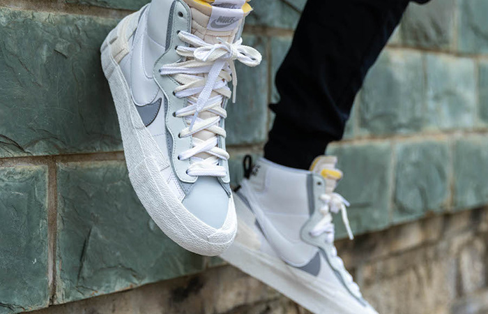 Sacai Nike Blazer Mid White Grey BV0072-100 on foot 03