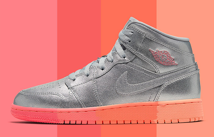 """The Nike Womens Air Jordan 1 Mid """"Metallic Silver"""" Coming With A Pinkish OutSole ft"""
