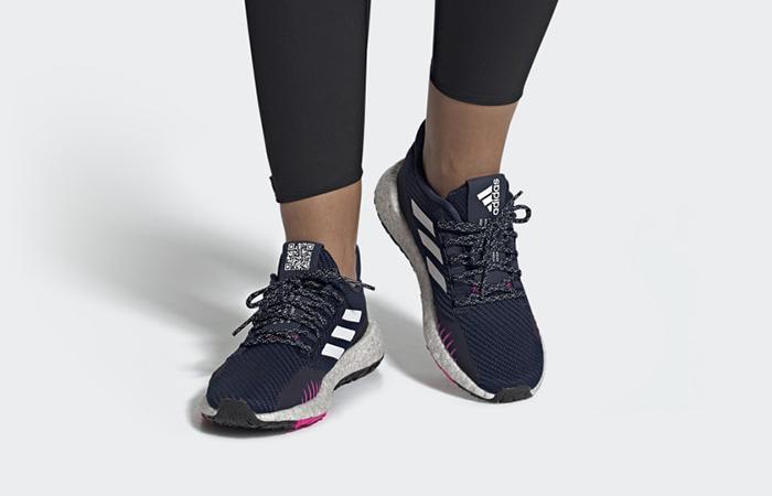 adidas Pulseboost Winter Pink Navy EF8909 on foot 01