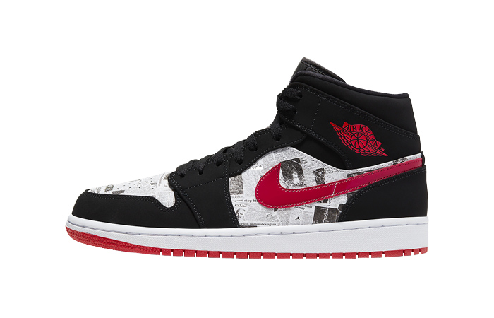 Air Jordan 1 Mid Black Red Newspaper 852542-061 01