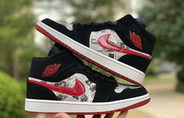 Air Jordan 1 Mid Black Red Newspaper 852542-061 02