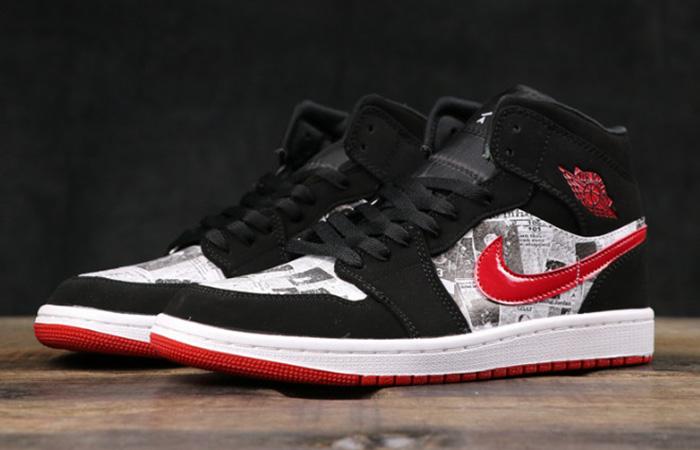 Air Jordan 1 Mid Black Red Newspaper 852542-061 03