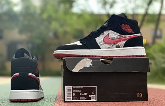 Air Jordan 1 Mid Black Red Newspaper 852542-061 04