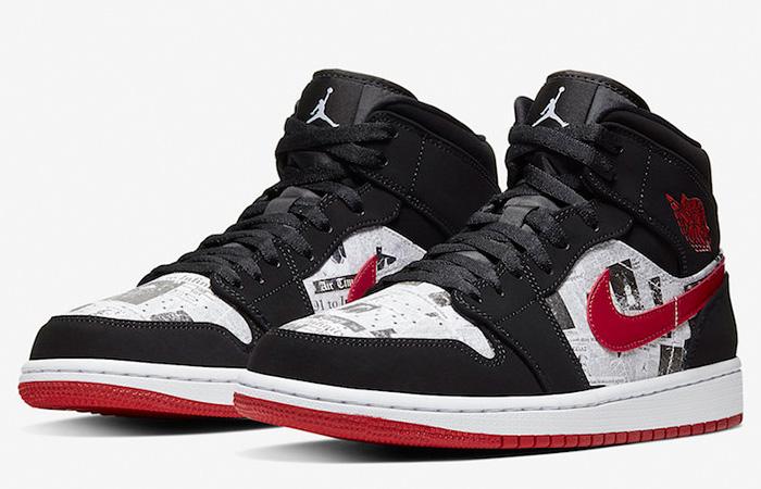 Air Jordan 1 Mid Black Red Newspaper 852542-061 05