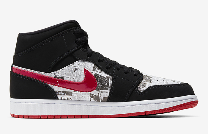 Air Jordan 1 Mid Black Red Newspaper 852542-061 06