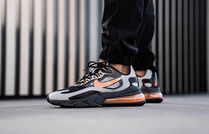 Nike Air Max 270 React Grey Orange CD2049-006 on foot 01
