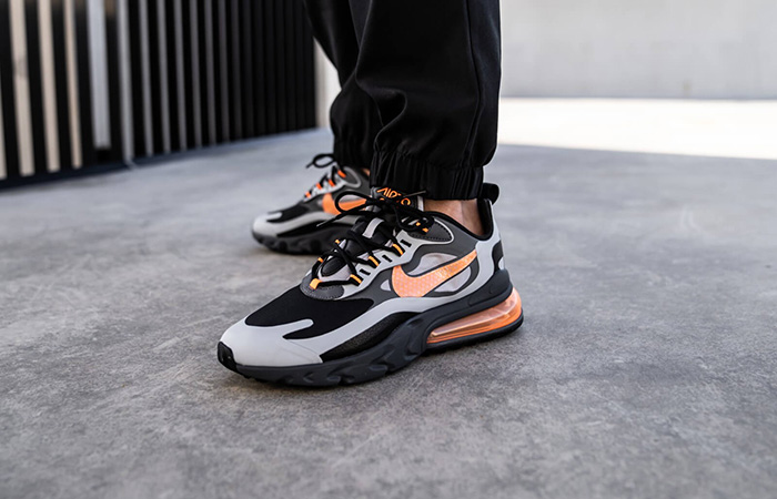 Nike Air Max 270 React Grey Orange CD2049-006 on foot 03