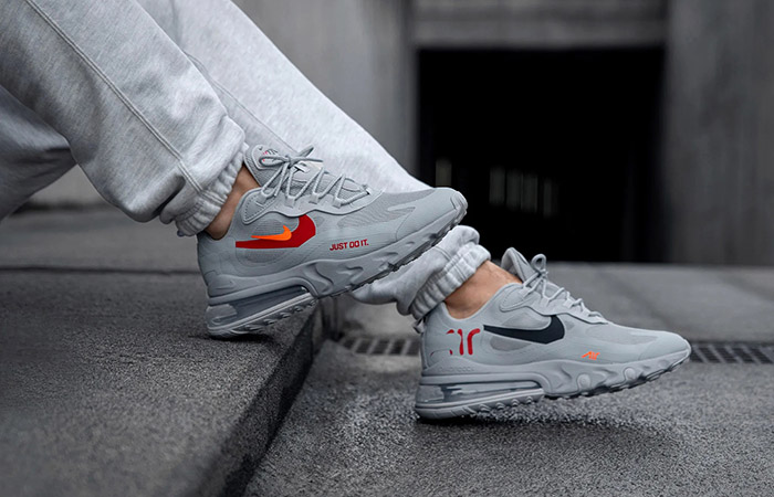 Nike Air Max 270 React Just Do It Grey CT2203-002 on foot 01