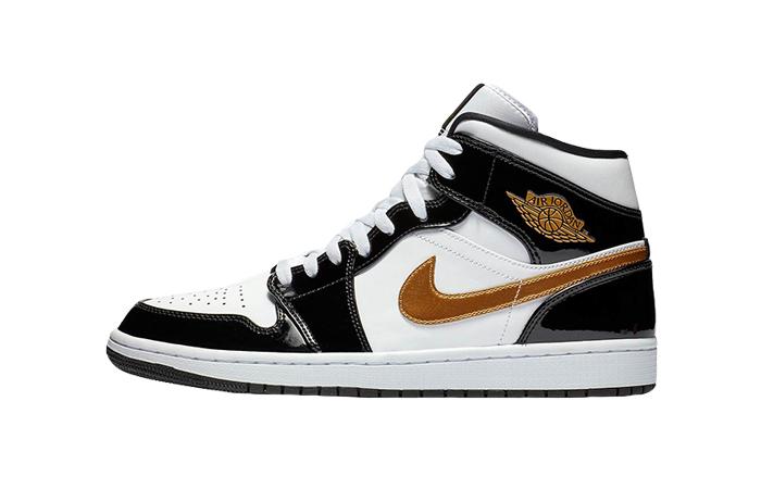 Nike Jordan 1 Mid Patent Black White Gold 852542-007 01