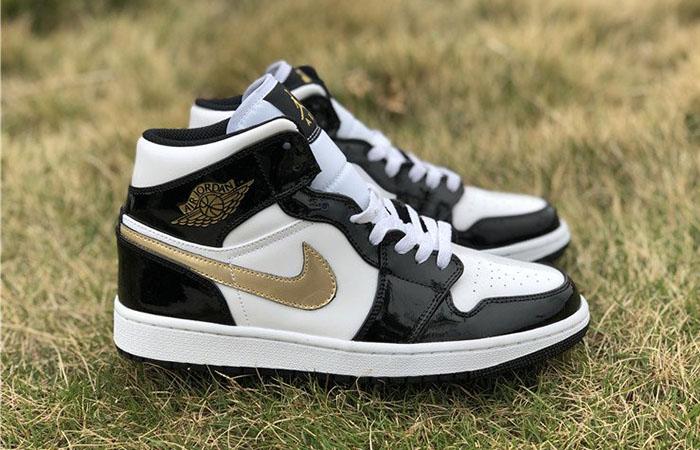 Nike Jordan 1 Mid Patent Black White Gold 852542-007 02