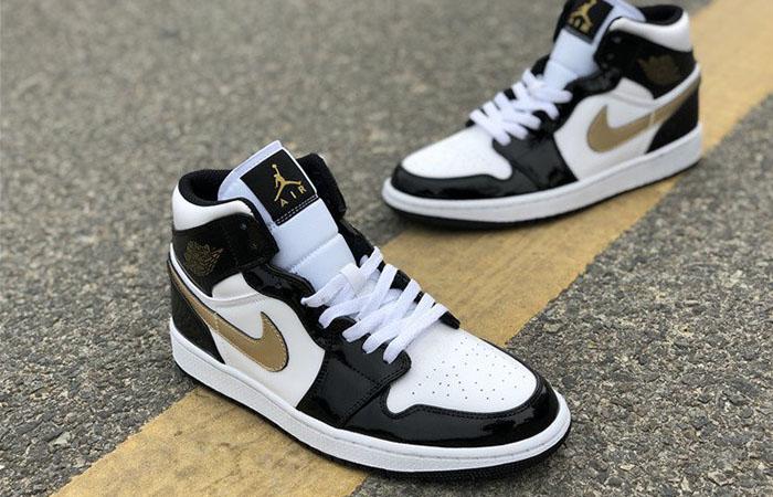 Nike Jordan 1 Mid Patent Black White Gold 852542-007 03