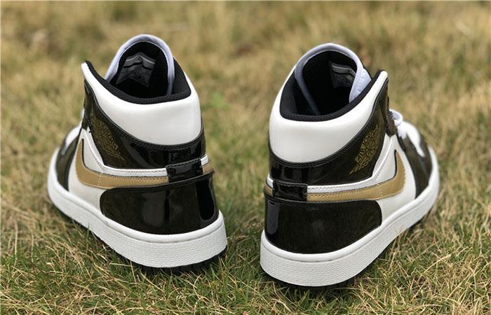 Nike Jordan 1 Mid Patent Black White Gold 852542-007 04