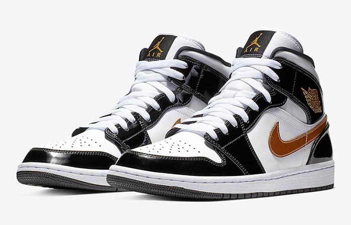 Nike Jordan 1 Mid Patent Black White Gold 852542-007 05