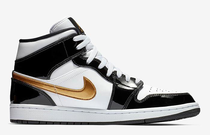Nike Jordan 1 Mid Patent Black White Gold 852542-007 06