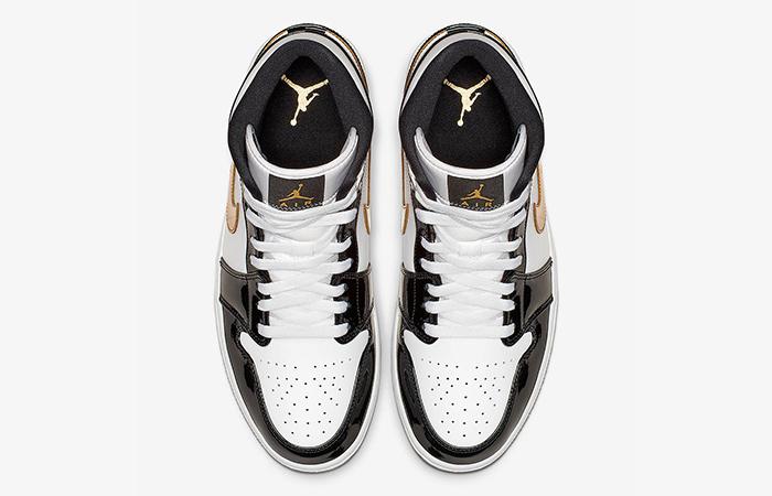 Nike Jordan 1 Mid Patent Black White Gold 852542-007 07