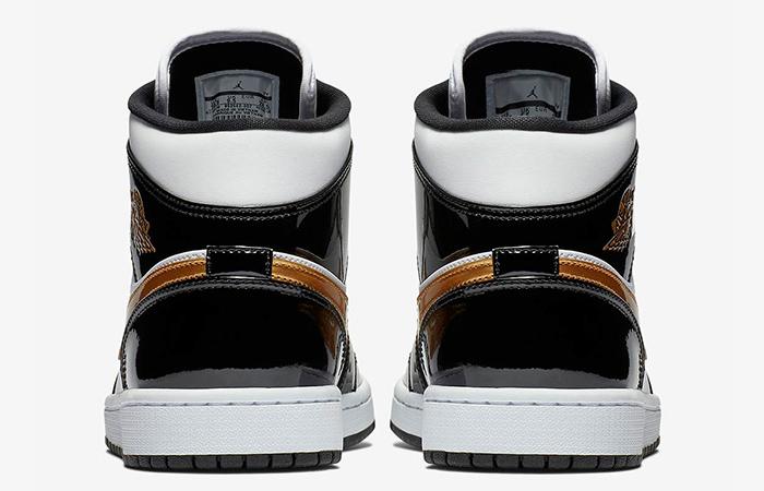 Nike Jordan 1 Mid Patent Black White Gold 852542-007 08