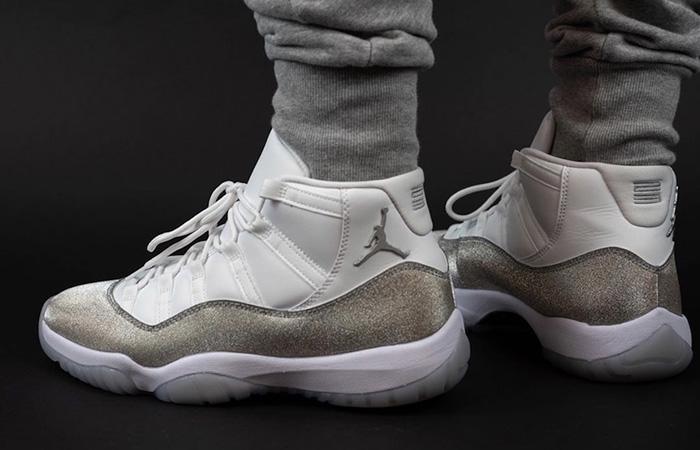 Nike Womens Air Jordan 11 Metalic Silver AR0715-100 on foot 03
