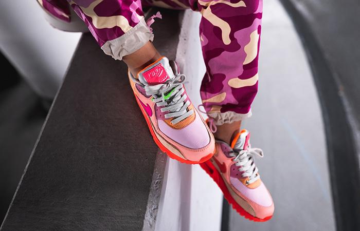Nike Womens Air Max 90 Pink Shade CT3449-600 on foot 02