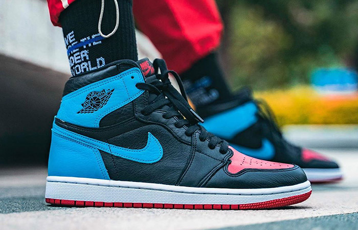 On Foot Images Of Nike Air Jordan 1 Retro High OG Blue Red ft