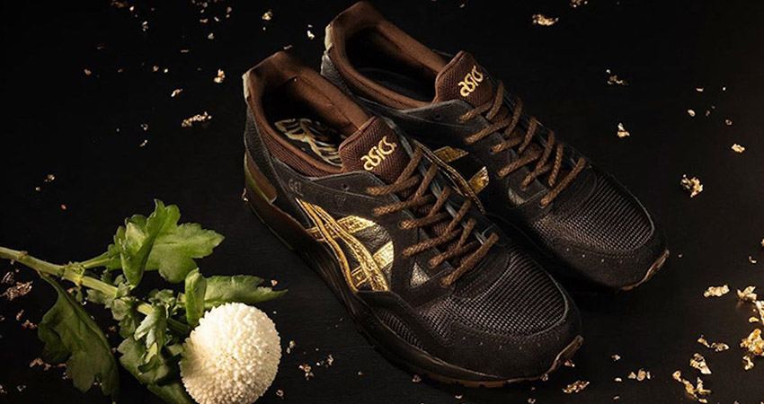 The Kicks Lab And Asics Gel Lyte 5 Kogane Releases With A Golden Shimmery Stripe 01