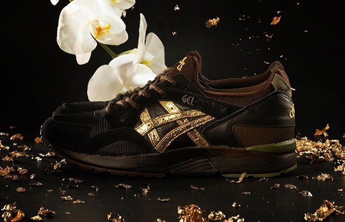 The Kicks Lab And Asics Gel Lyte 5 Kogane Releases With A Golden Shimmery Stripe ft