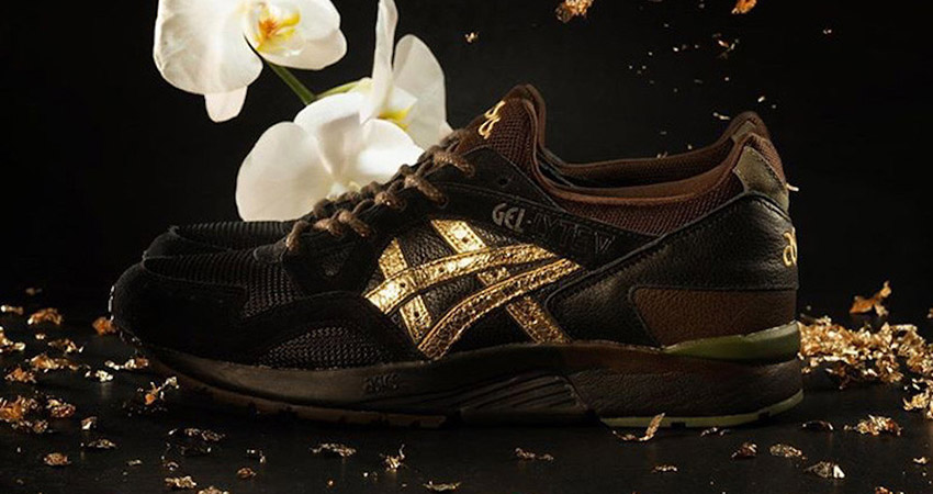 The Kicks Lab And Asics Gel Lyte 5 Kogane Releases With A Golden Shimmery Stripe