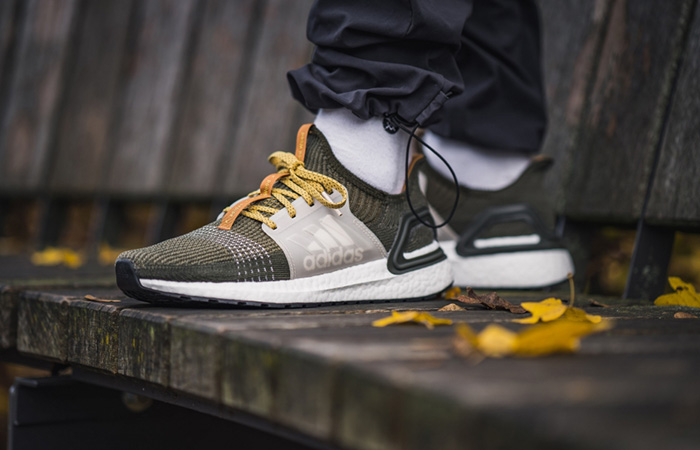Wood Wood adidas UltraBOOST 19 Khaki EG1728 on foot 01