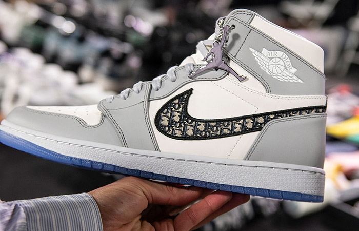 Here Is The First Look At The Dior Air Jordan 1 High Grey White ft