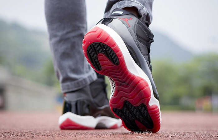 Nike Air Jordan 11 Bred 378037-061 on foot 03