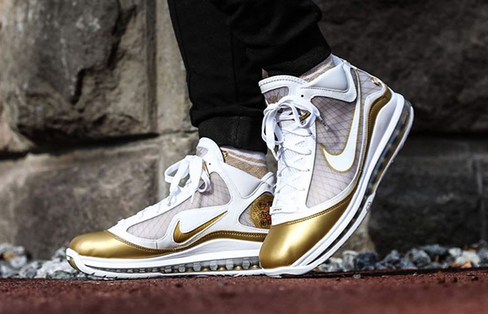 Nike LeBron 7 Gold White CU5646-100 on foot 01