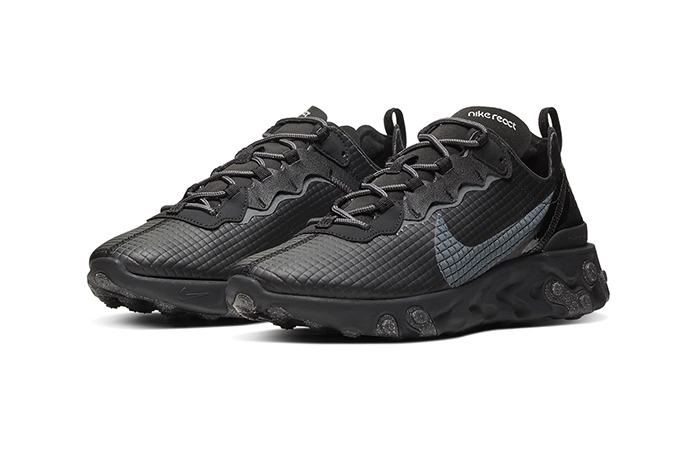 Nike React Element 55 Quilted Grids Black CI3835-002 02