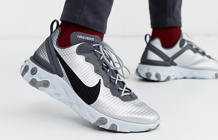Nike React Element 55 Quilted Grids Grey CI3835-001 on foot 01