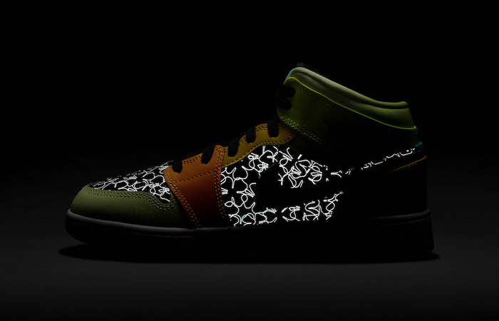 The New The Air Jordan 1 Mid Design With A Reflective Four Leaf Effect! ft