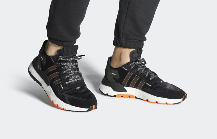 adidas Nite Jogger Black Red FW0187 on foot 01