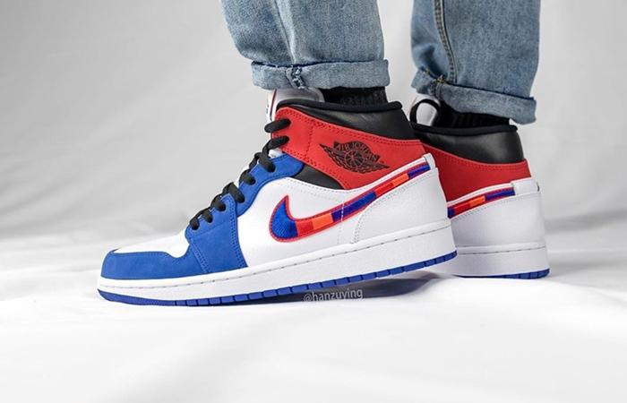 Nike Air Jordan 1 Mid Blue Red 852542-146 on foot 02